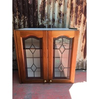 Timber Cabinet With Lead light Panels 750w X 730h X 305d